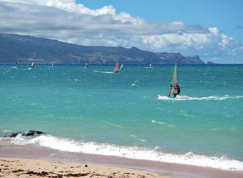 Practicando windsurf en Hawaii